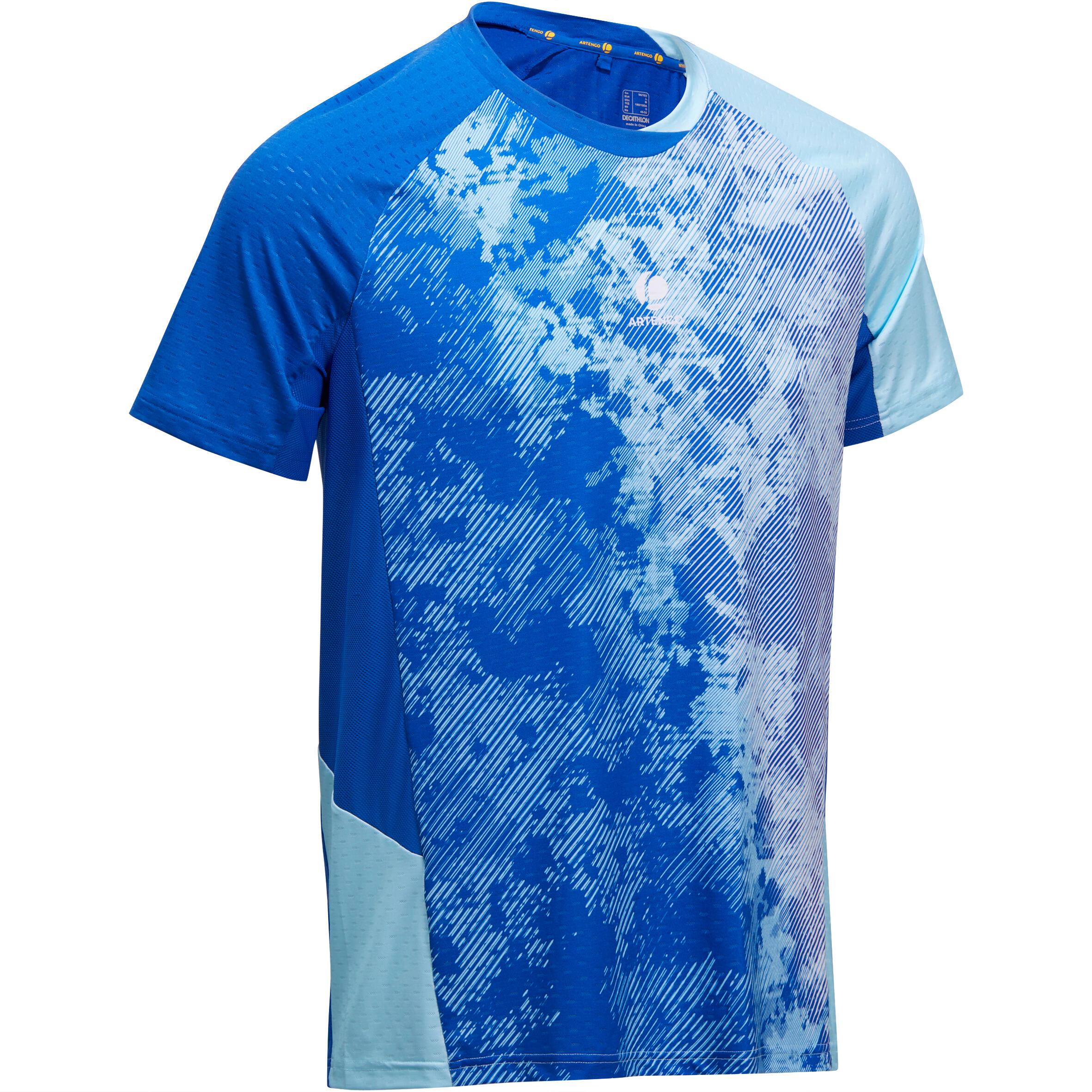Artengo Heren T-shirt 860, voor badminton, tafeltennis, padel, squash, lichtblauw