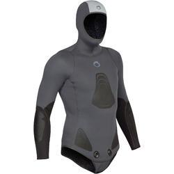 Chaqueta traje de pesca submarina neopreno felpa 3 mm SPF 100 gris azul