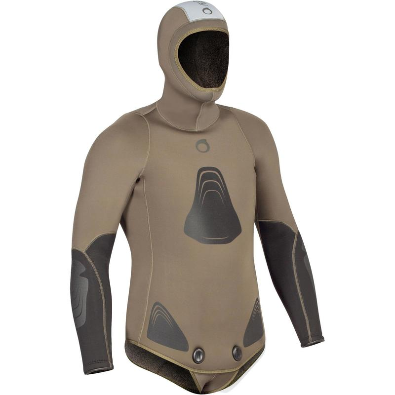 Chaqueta de traje pesca submarina de neopreno de felpa 7 mm SPF 100 caqui verde
