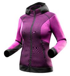 Warme stretch damessweater voor trekking Forclaz 900 gemêleerd