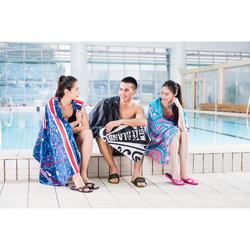 女款泳池涼鞋SLAP 500-藍綠色