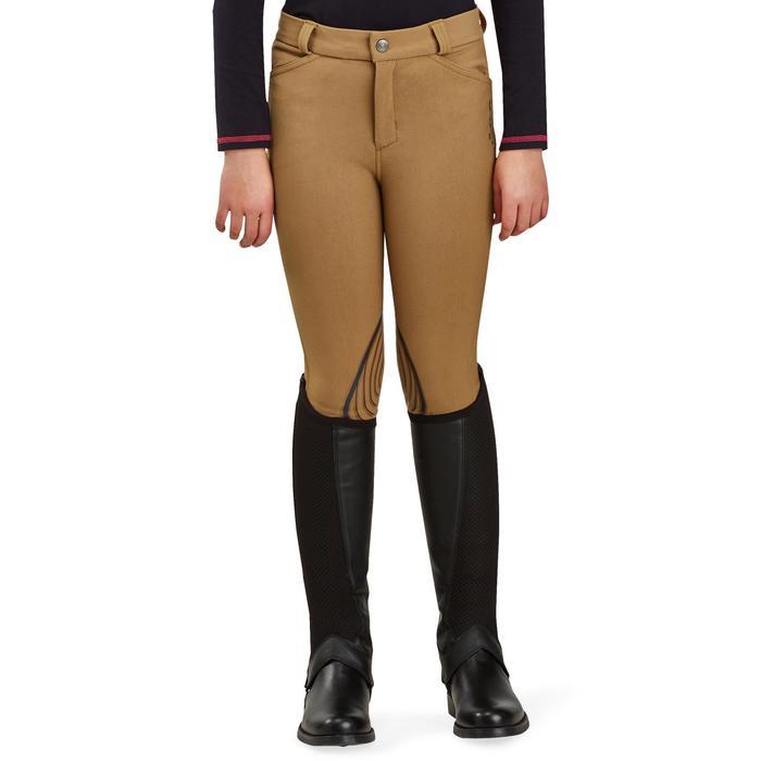Pantalon équitation enfant BR560 GRIP basanes silicone camel