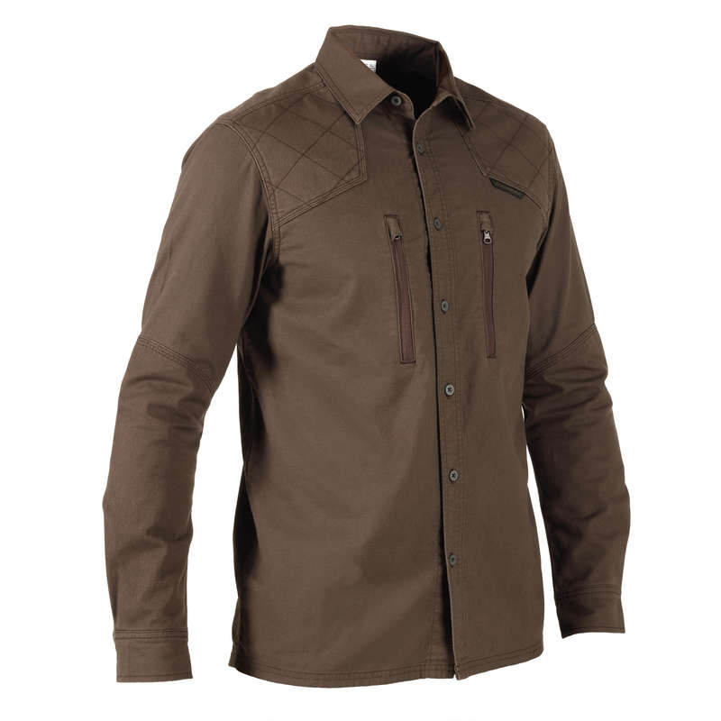 REINFORCED CLOTHING Shooting and Hunting - 520 REINF SHIRT - BROWN SOLOGNAC - Hunting and Shooting Clothing