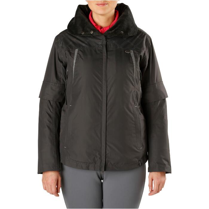 Veste chaude et imperméable femme équitation TOSCA 2 gris foncé/chevron - 1163815