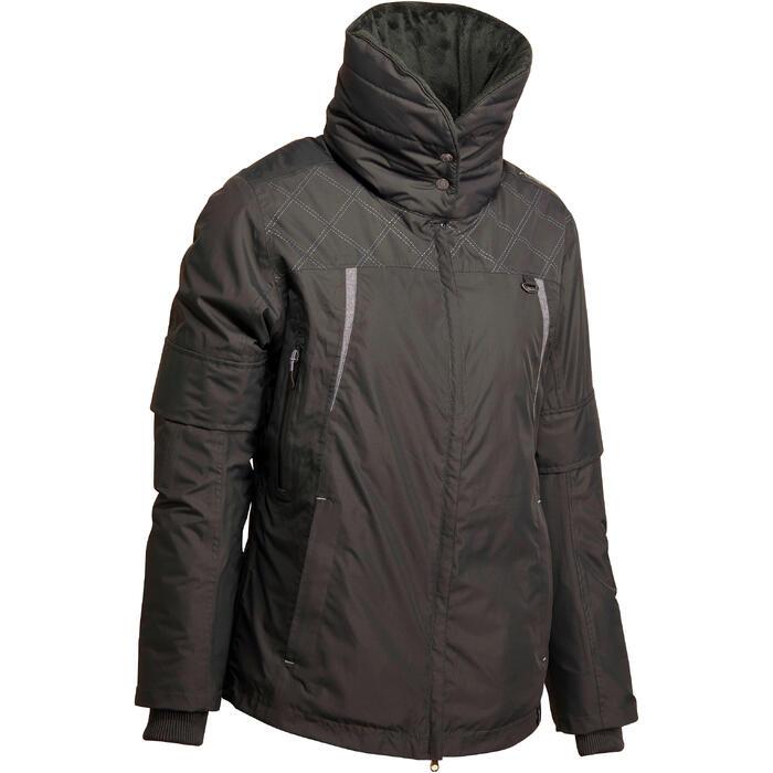 Veste chaude et imperméable femme équitation TOSCA 2 gris foncé/chevron - 1163825