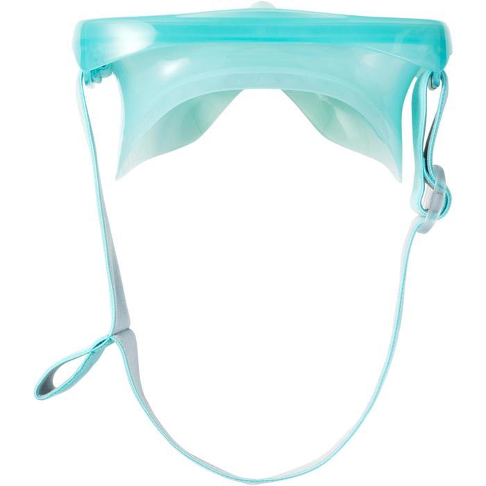 Kit masque tuba d'apnée freediving FRD120 vert clair gris pour adultes