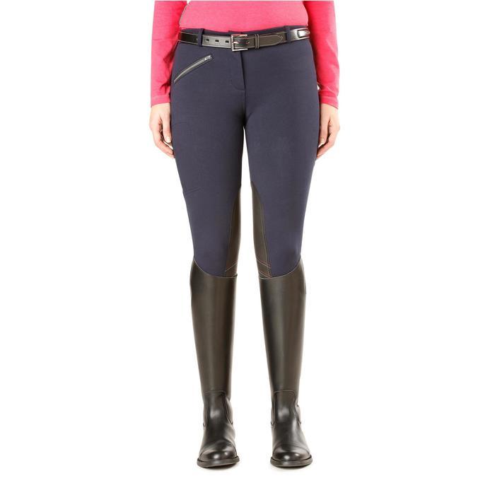 Pantalon chaud équitation femme VICTORIA bleu marine - 1164208
