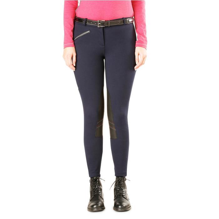 Pantalon chaud équitation femme VICTORIA bleu marine - 1164212
