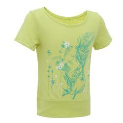 女童健行運動T恤 Hike 500 黃色松鼠