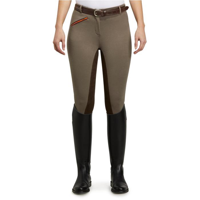 Pantalón badana equitación mujer BR180 fullseat marrón y naranja