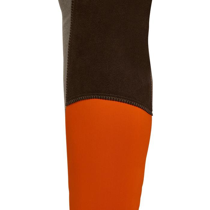 Damesrijbroek BR180 fullseat met synthetisch zeem bruin en oranje