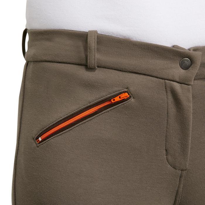Pantalon fond de peau équitation femme BR180 fullseat marron et orange