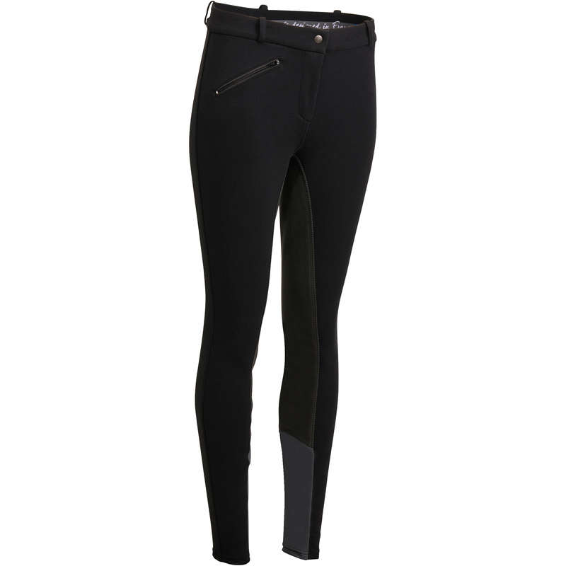 WOMAN RIDING WEAR Horse Riding - 180 Fullseat Jodhpurs - Black FOUGANZA - Horse Riding Clothes
