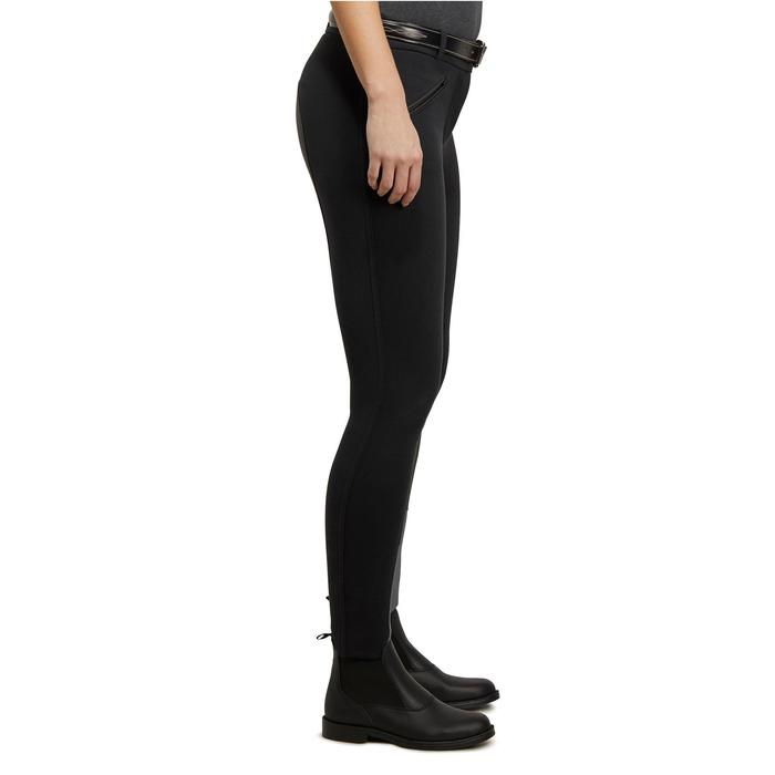 Rijbroek met synthetisch zeem ruitersport dames 180 Fullseat zwart