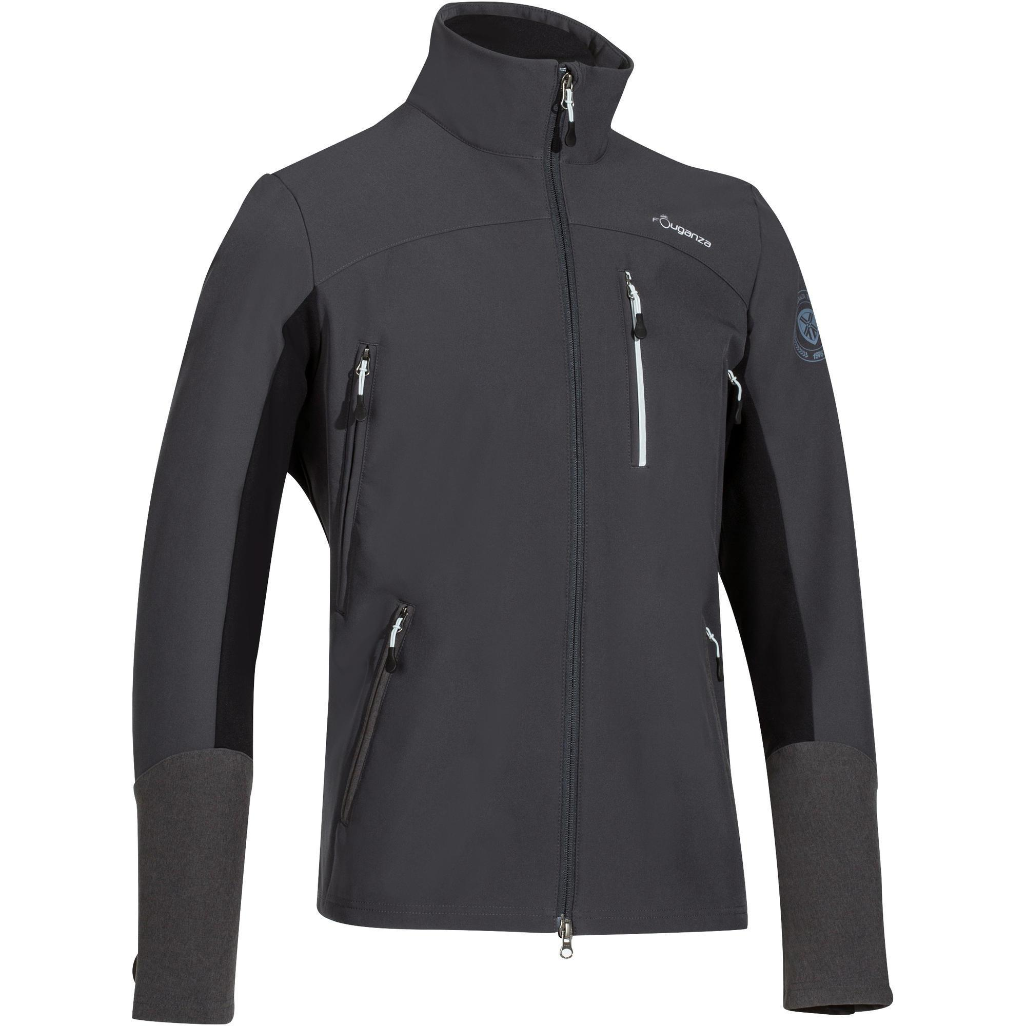 Fouganza Jas ruitersport heren Softshell 700 donkergrijs