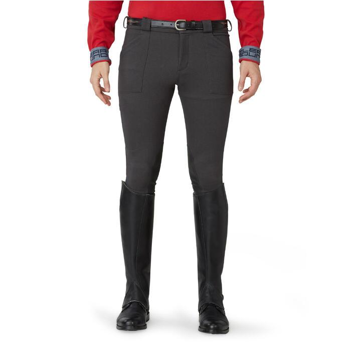 Pantalon chaud équitation homme VICTOR gris foncé - 1164985
