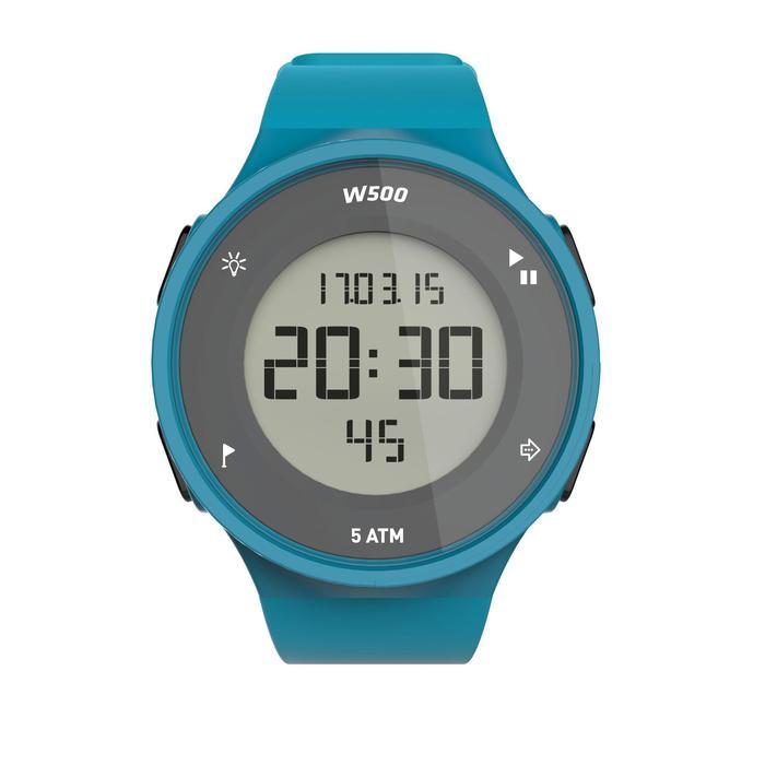 Montre chronomètre de course à pied homme W500 M noire reverse - 1165597