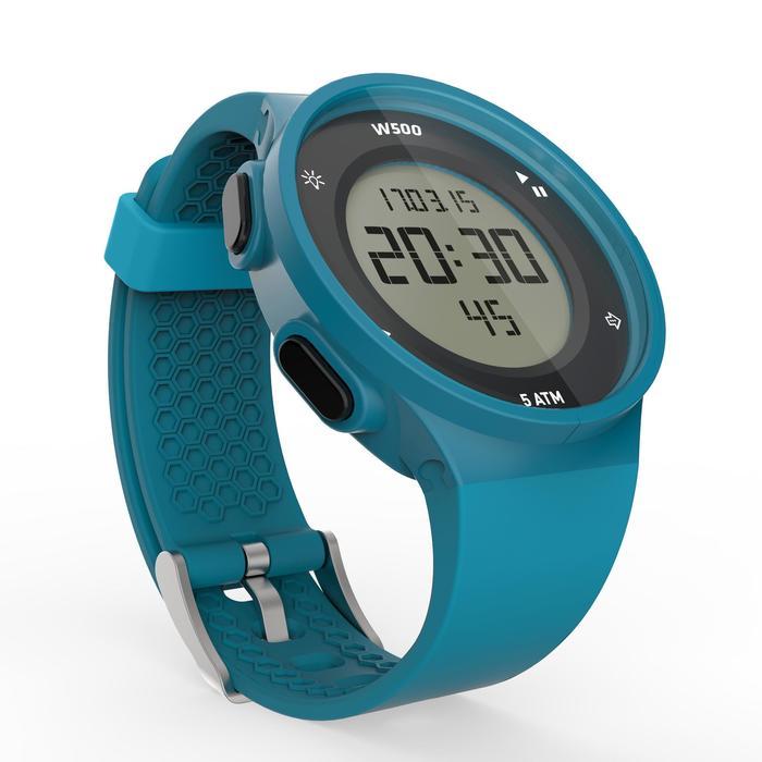 Montre chronomètre de course à pied homme W500 M noire reverse - 1165601