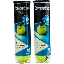 Tennisballen voor competitie TB920 2 kokers van 4 stuks geel