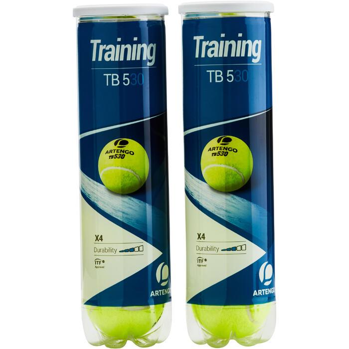 BALLES DE TENNIS ARTENGO TB530 BI PACK 2 TUBES DE 4 BALLES