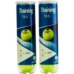 Tennisballen voor competitie TB530 2 kokers van 4 stuks geel