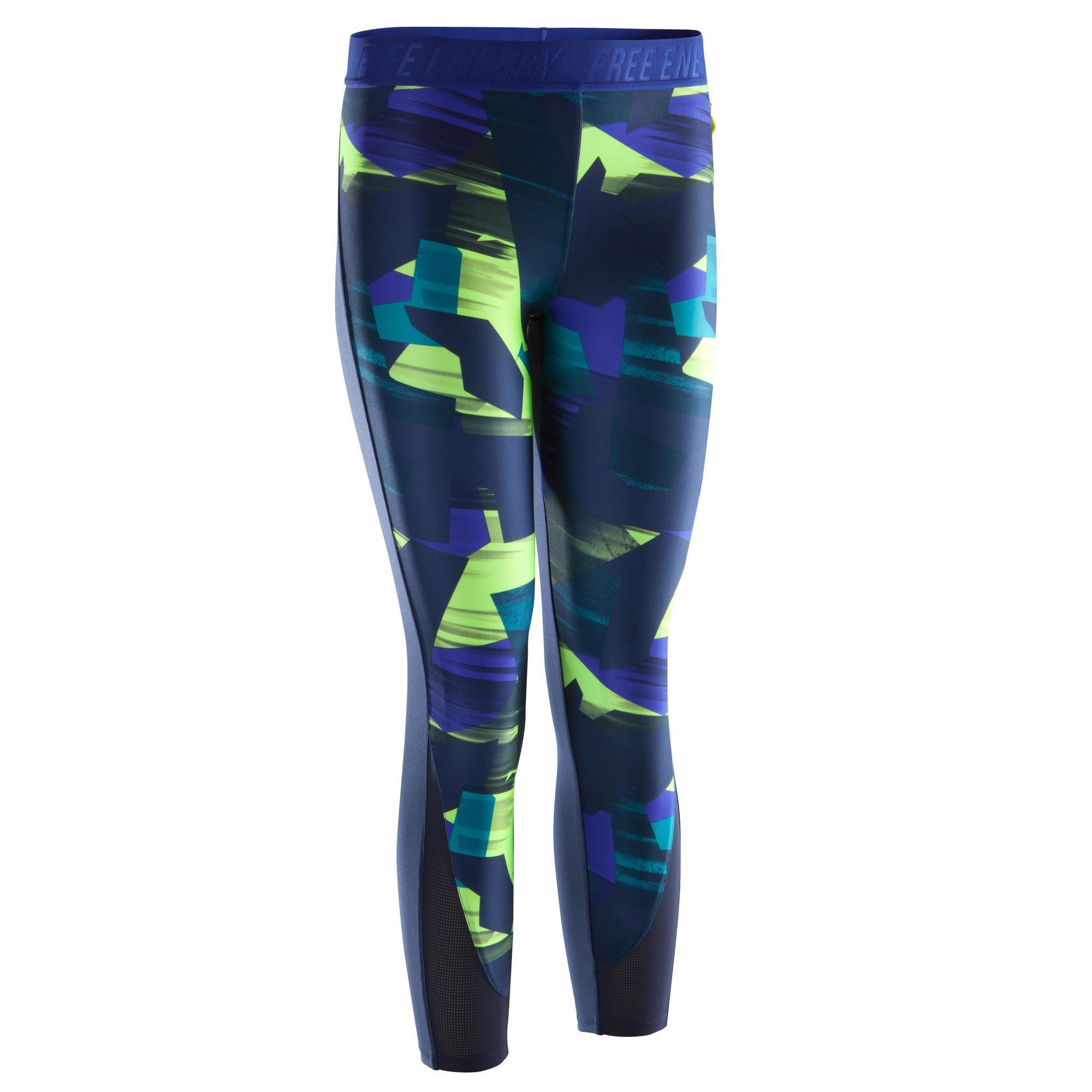 Fitness Leggings Nl: 7/8-fitnesslegging Cardio Energy + Dames Blauw/geel Met