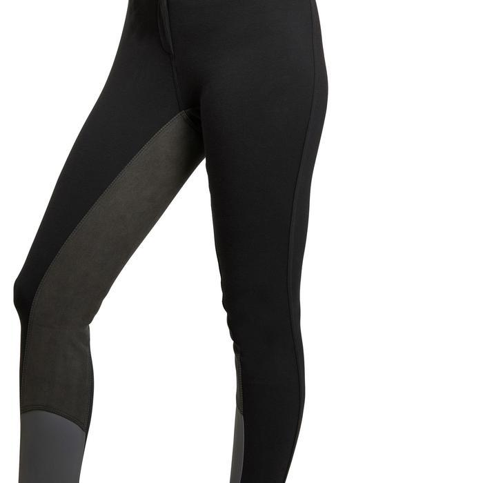 Pantalón con badana equitación mujer BR180 fullseat Negro
