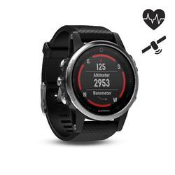 GPS-multisporthorloge hartslagmeting aan de pols Fenix 5 zilver (zwart bandje)