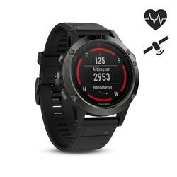 GPS-multisporthorloge hartslagmeting aan de pols Fenix 5 grijs (zwart bandje)