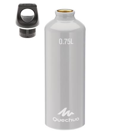 100 0.75L Screw-Top Aluminium Hiking Water Bottle - Grey