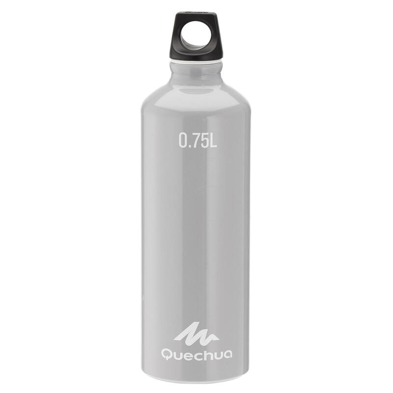 100 Aluminum Hiking Water Bottle with Screw Top 0.75 L - Grey