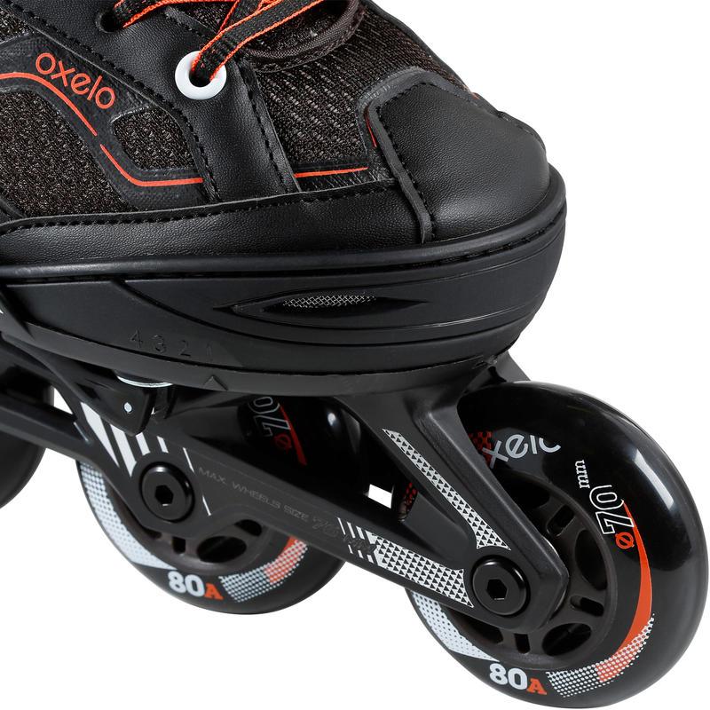 Giày trượt patin 1 hàng Fit 3 cho thiếu niên - Đen/Cam