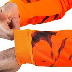 Camiseta caza Solognac Supertrack Reforzada Camuflaje Naranja Fluo Manga Larga