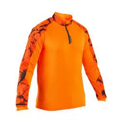 Camiseta caza Supertrack camuflaje fluo manga larga