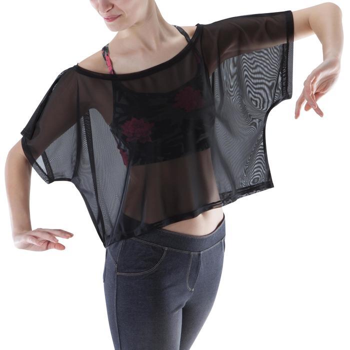 T shirt court transparent danse femme noir. - 1171708