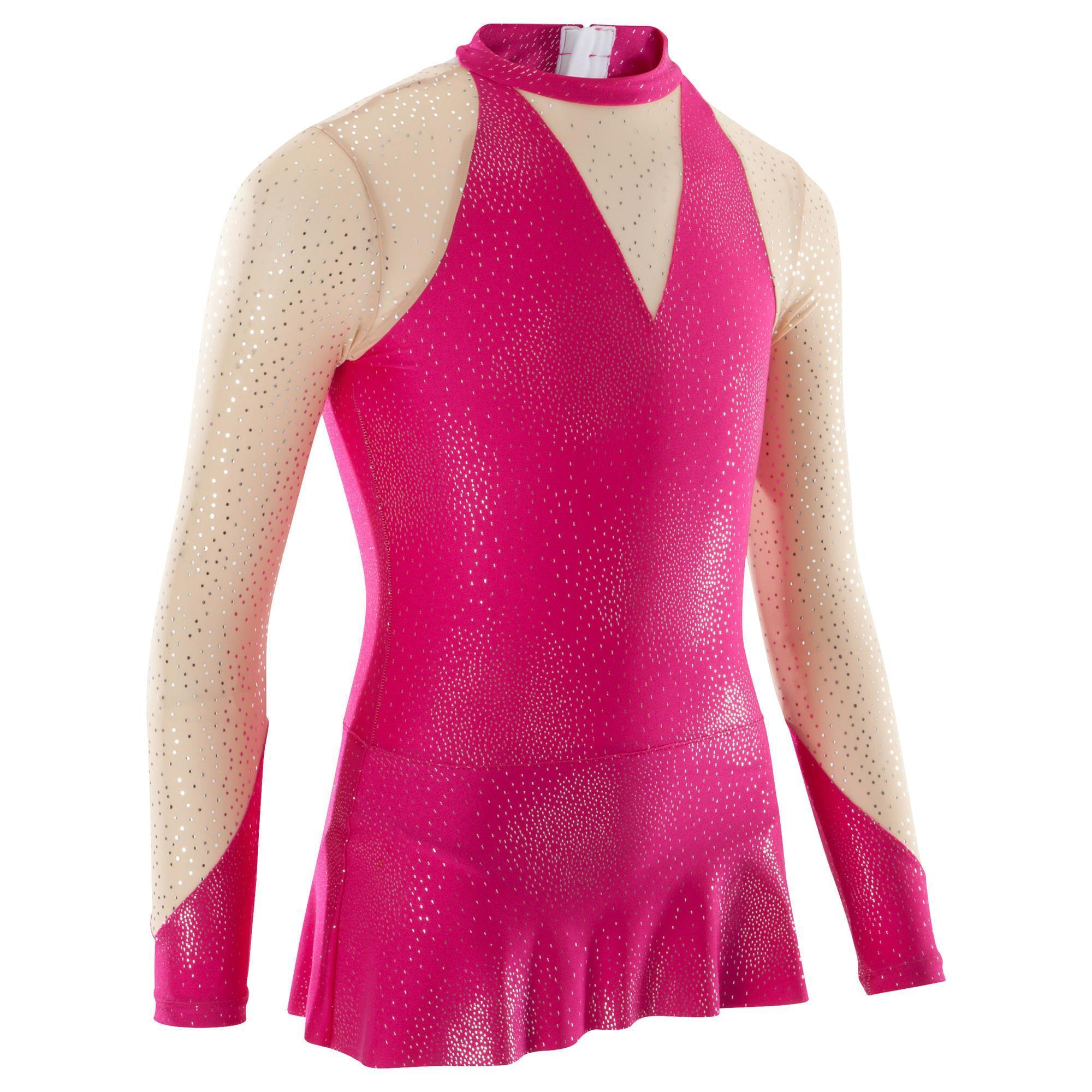 Maillot de manga larga gimnasia rítmica (GR) rosa | Domyos
