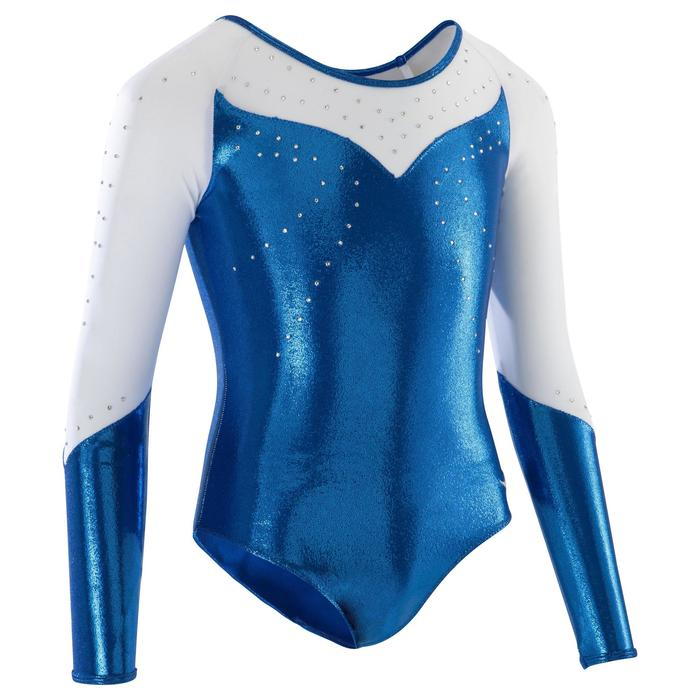 Justaucorps manches longues Gym Féminine (GAF) paillettes/strass/voile bleu. - 1171780