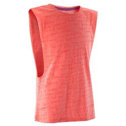 T shirt ouverture côté orange fille