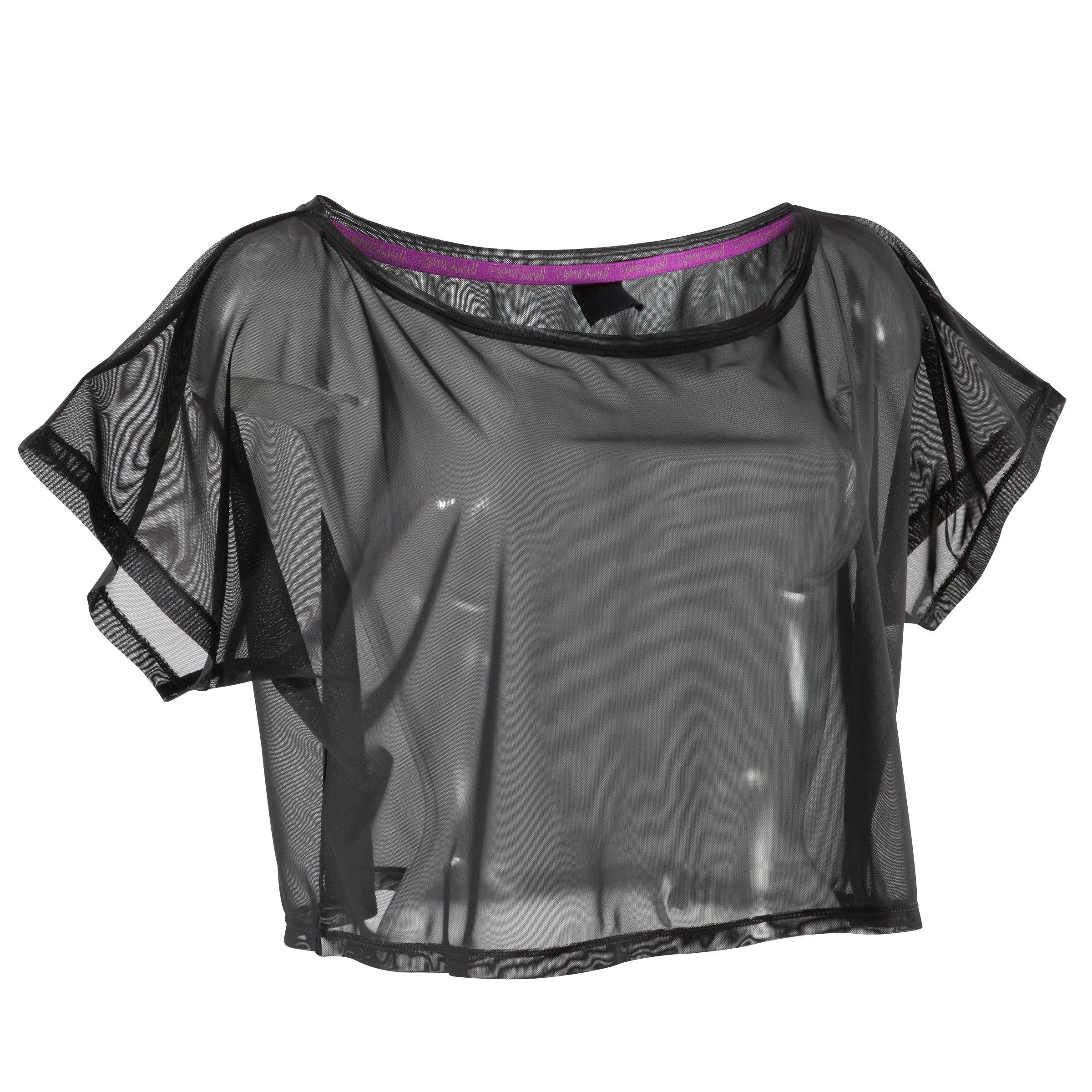Domyos Kort en transparant dans T-shirt voor dames zwart