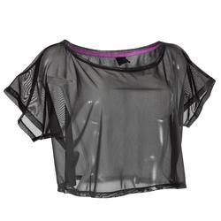Kort en transparant dans T-shirt voor dames zwart