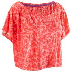 Camiseta corta de danza mujer coral fluorescente