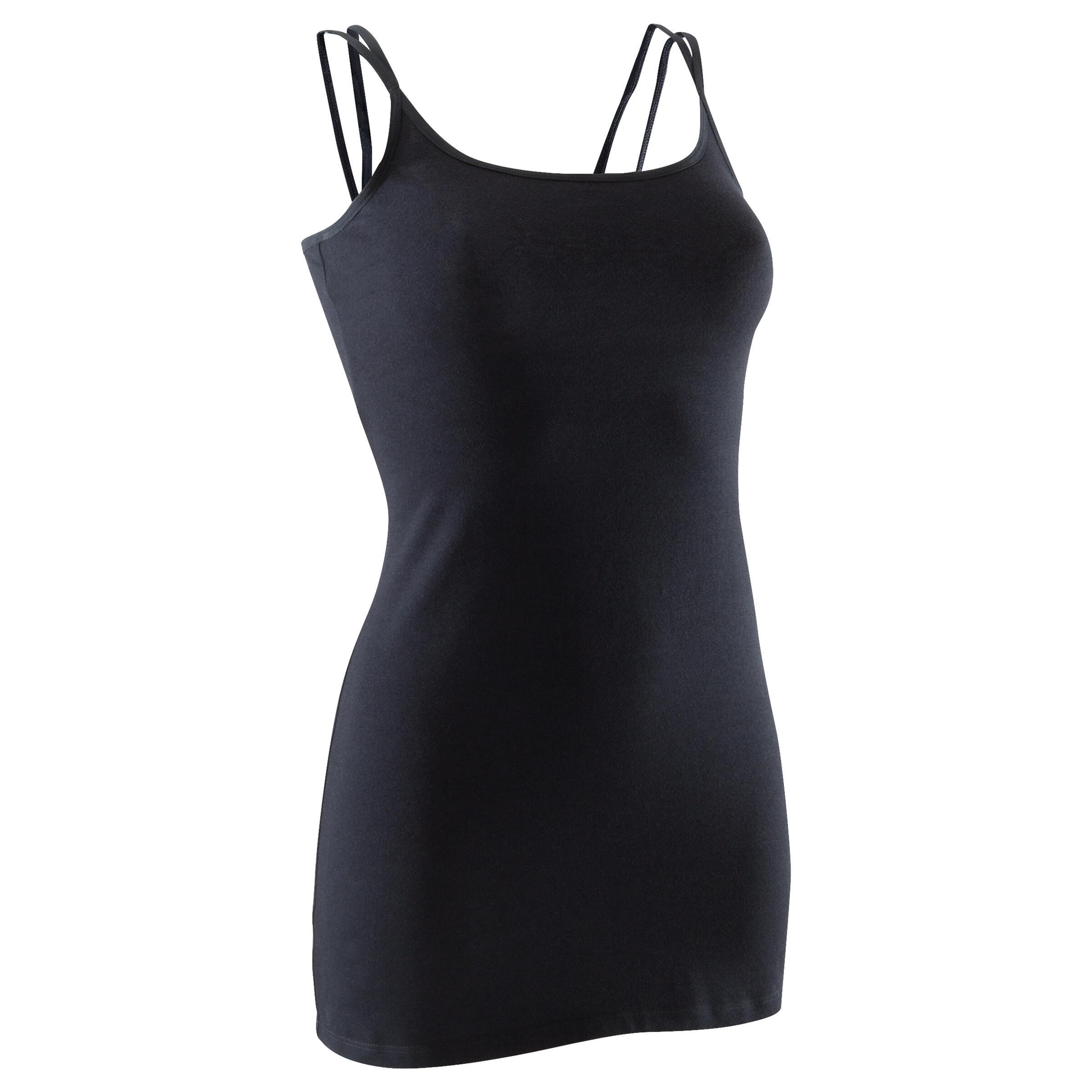 Blusa negra de danza con tirantes finos de danza para mujer