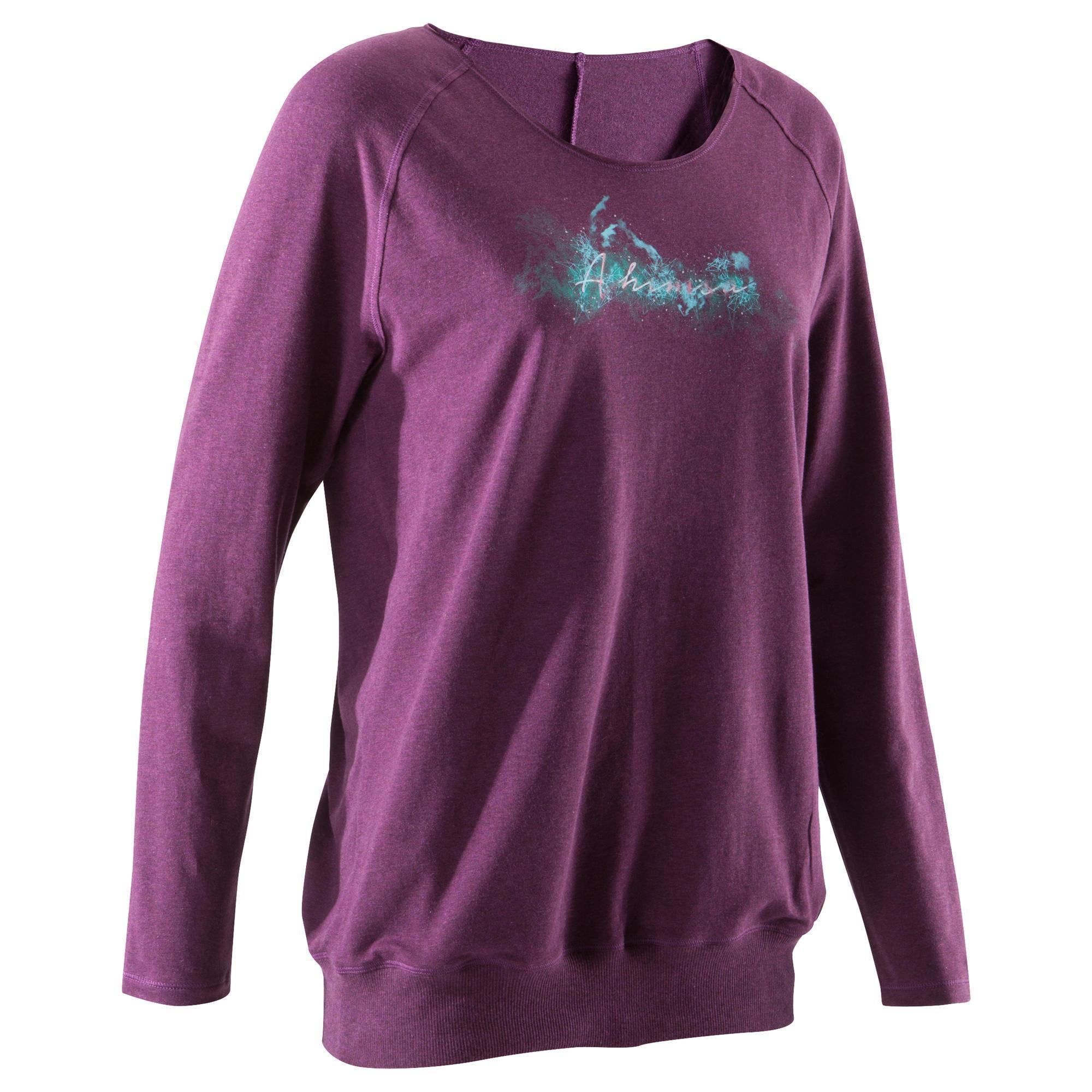 10894c3564 T-shirt donna yoga 100 cotone bio bordeaux | Domyos by Decathlon