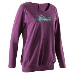 Women's Long-Sleeved Gentle Yoga T-Shirt - Mottled Grey