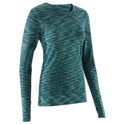 Yoga+ 500 女性長袖溫合瑜珈運動T恤 - 綠色