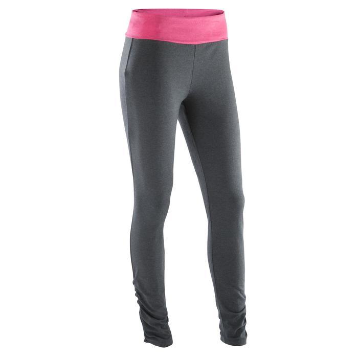 Dameslegging voor zachte yoga, biokatoen, gemêleerd grijs / roze