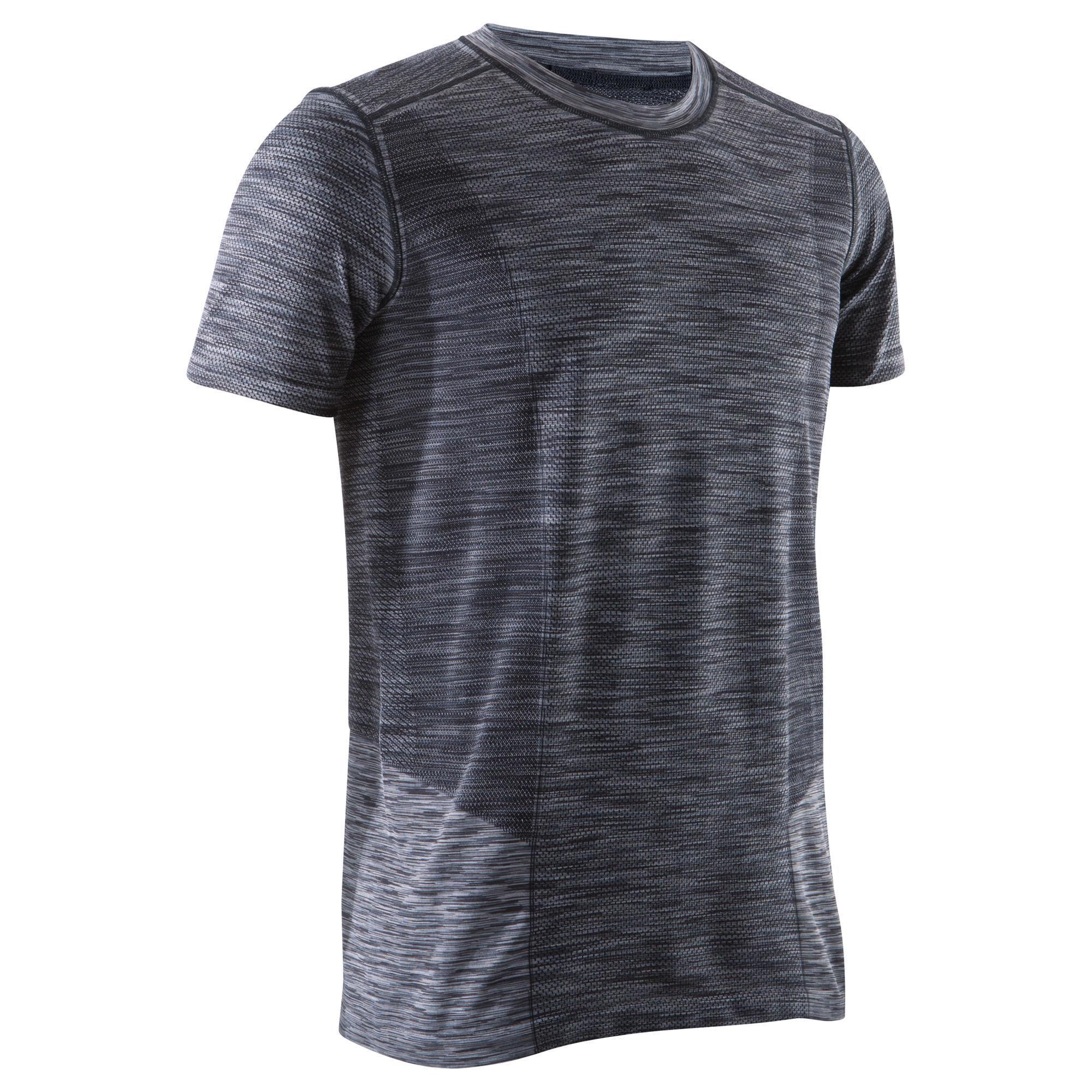 t shirt yoga sans coutures noir gris homme domyos by decathlon. Black Bedroom Furniture Sets. Home Design Ideas