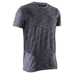 Naadloos heren T-shirt met korte mouwen voor dynamische yoga zwart / grijs