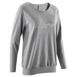 Camiseta de manga larga yoga suave mujer gris jaspeado