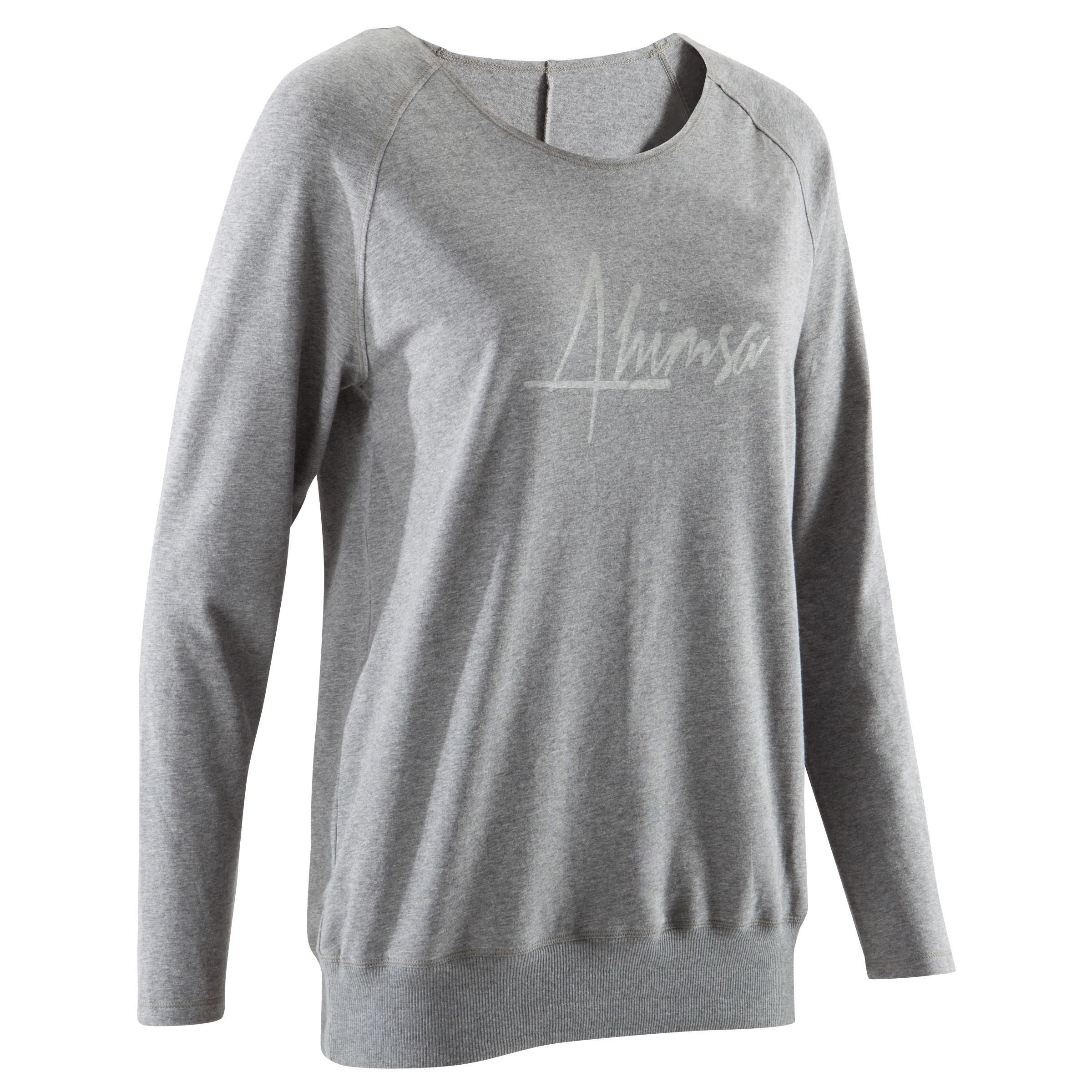 T-shirt manches longues yoga doux femme gris chine
